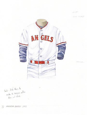 Los Angeles Angels of Anaheim 1992 - Heritage Sports Art - original watercolor artwork - 1