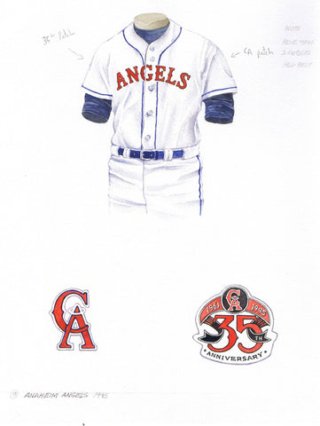 Los Angeles Angels of Anaheim 1995 - Heritage Sports Art - original watercolor artwork - 1