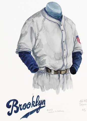 Los Angeles Dodgers 1945 - Heritage Sports Art - original watercolor artwork - 1