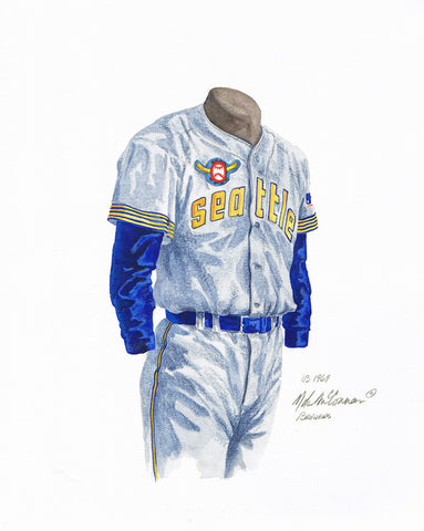 Milwaukee Brewers 1969 Grey - Heritage Sports Art - original watercolor artwork - 1