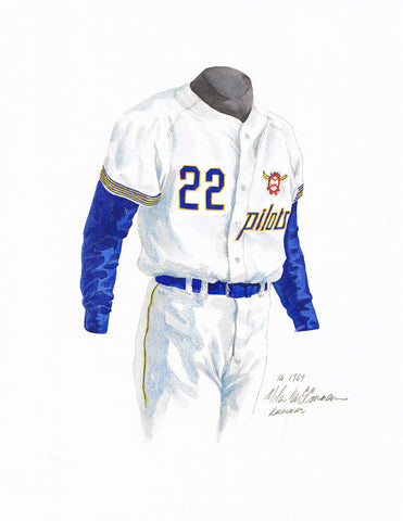 Milwaukee Brewers 1969 White - Heritage Sports Art - original watercolor artwork - 1