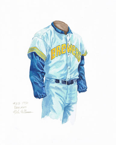 Milwaukee Brewers 1970 Blue - Heritage Sports Art - original watercolor artwork - 1