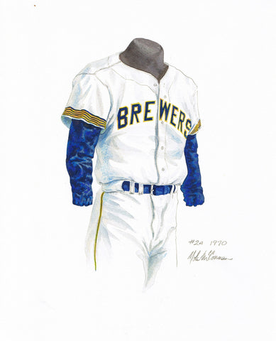 Milwaukee Brewers 1970 White - Heritage Sports Art - original watercolor artwork - 1