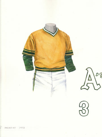 Oakland Athletics 1972 - Heritage Sports Art - original watercolor artwork - 1