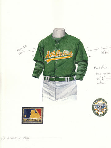 Oakland Athletics 1994 - Heritage Sports Art - original watercolor artwork - 1