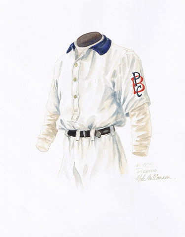 This is an original watercolor painting of the 1909 Pittsburgh Pirates uniform.