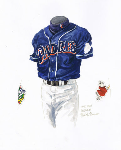 San Diego Padres 1998 - Heritage Sports Art - original watercolor artwork - 1