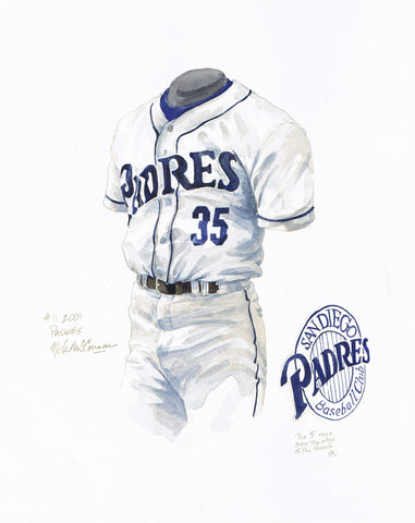 San Diego Padres 2001 - Heritage Sports Art - original watercolor artwork - 1
