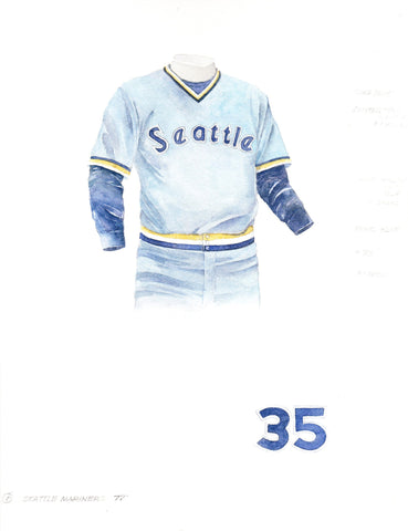 Seattle Mariners 1977 Blue - Heritage Sports Art - original watercolor artwork - 1