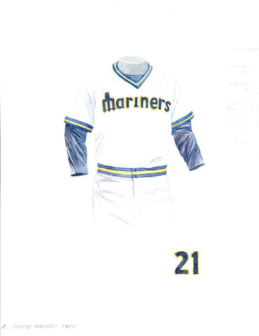 Seattle Mariners 1977 White - Heritage Sports Art - original watercolor artwork - 1