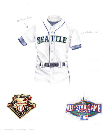 Seattle Mariners 2001 - Heritage Sports Art - original watercolor artwork - 1
