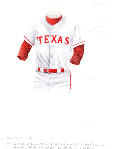 Texas Rangers 1994 - Heritage Sports Art - original watercolor artwork - 1