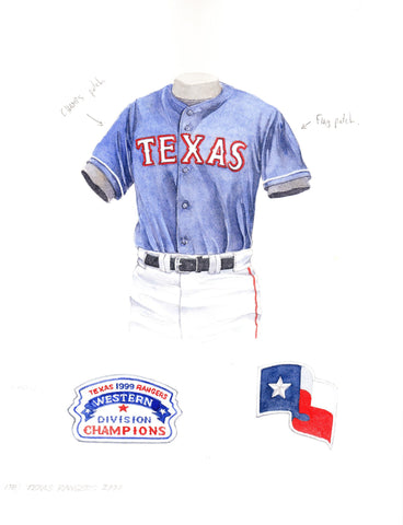 Texas Rangers 2000 - Heritage Sports Art - original watercolor artwork - 1