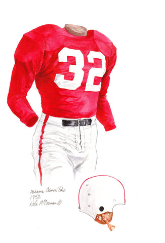 Alabama Crimson Tide 1952 - Heritage Sports Art - original watercolor artwork - 1