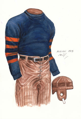 Auburn Tigers 1913 - Heritage Sports Art - original watercolor artwork - 1