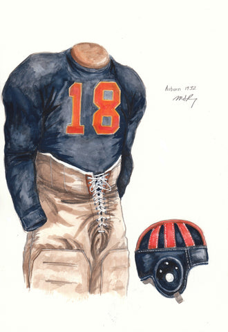 Auburn Tigers 1932 - Heritage Sports Art - original watercolor artwork - 1