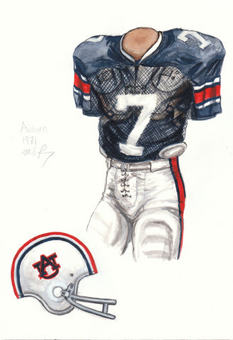 Auburn Tigers 1971 - Heritage Sports Art - original watercolor artwork - 1