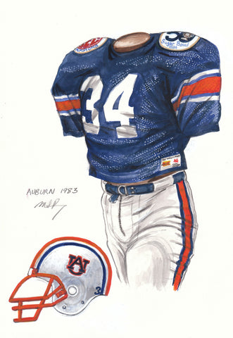 Auburn Tigers 1983 - Heritage Sports Art - original watercolor artwork - 1