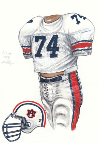 Auburn Tigers 1993 - Heritage Sports Art - original watercolor artwork - 1