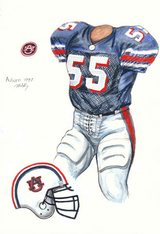 Auburn Tigers 1997 - Heritage Sports Art - original watercolor artwork - 1