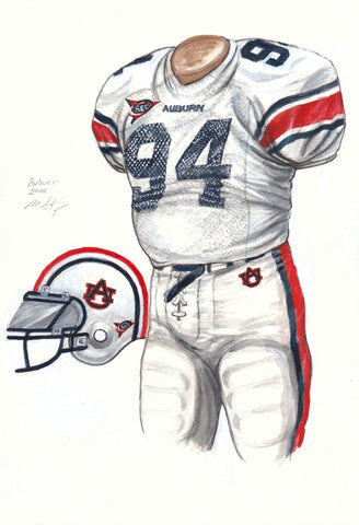 Auburn Tigers 2008 - Heritage Sports Art - original watercolor artwork - 1