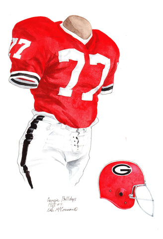 Georgia Bulldogs 1968 - Heritage Sports Art - original watercolor artwork - 1