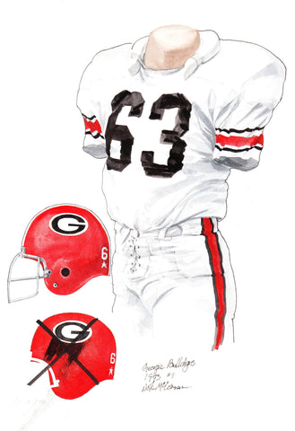 Georgia Bulldogs 1973 - Heritage Sports Art - original watercolor artwork - 1