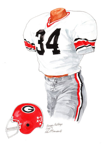 Georgia Bulldogs 1980 - Heritage Sports Art - original watercolor artwork - 1