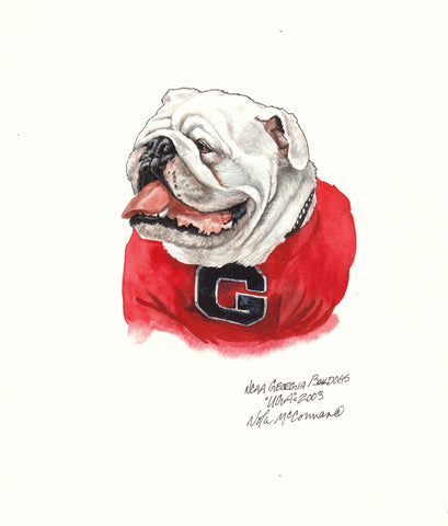 Georgia Bulldog - Heritage Sports Art - original watercolor artwork - 1