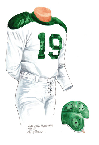 Miami Hurricanes 1937 - Heritage Sports Art - original watercolor artwork - 1