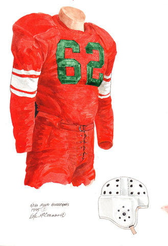Miami Hurricanes 1945 - Heritage Sports Art - original watercolor artwork - 1