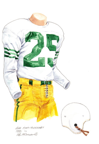 Miami Hurricanes 1950 - Heritage Sports Art - original watercolor artwork - 1