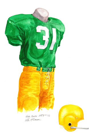Miami Hurricanes 1957 - Heritage Sports Art - original watercolor artwork - 1
