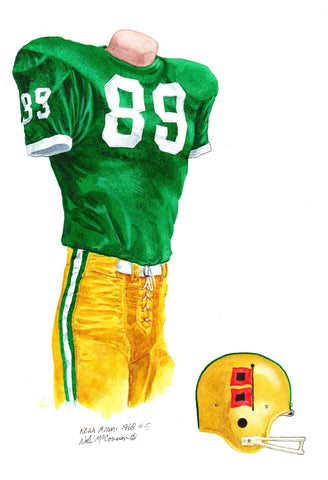 Miami Hurricanes 1968 - Heritage Sports Art - original watercolor artwork - 1