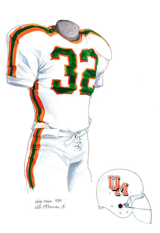 Miami Hurricanes 1970 - Heritage Sports Art - original watercolor artwork - 1