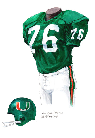 Miami Hurricanes 1974 - Heritage Sports Art - original watercolor artwork - 1