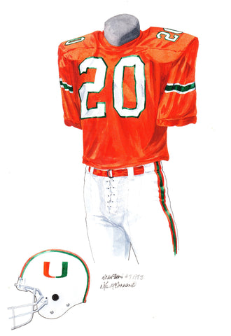 Miami Hurricanes 1983 - Heritage Sports Art - original watercolor artwork - 1