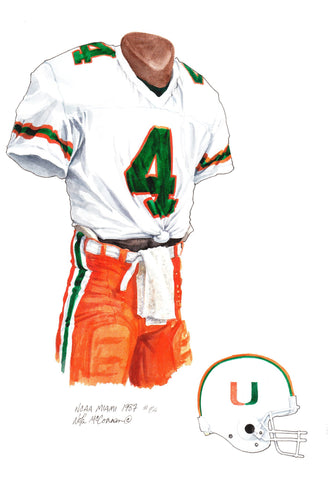 Miami Hurricanes 1987 - Heritage Sports Art - original watercolor artwork - 1