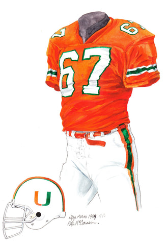Miami Hurricanes 1989 - Heritage Sports Art - original watercolor artwork - 1