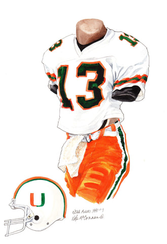 Miami Hurricanes 1991 - Heritage Sports Art - original watercolor artwork - 1