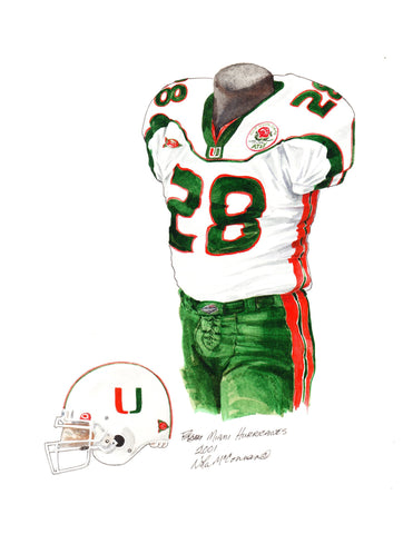 Miami Hurricanes 2001 - Heritage Sports Art - original watercolor artwork - 1