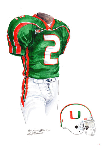 Miami Hurricanes 2002 - Heritage Sports Art - original watercolor artwork - 1