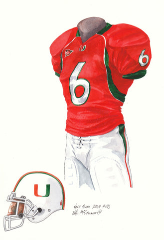 Miami Hurricanes 2004 - Heritage Sports Art - original watercolor artwork - 1