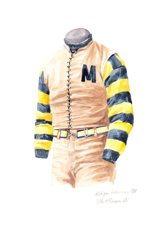 Michigan Wolverines 1891 - Heritage Sports Art - original watercolor artwork - 1
