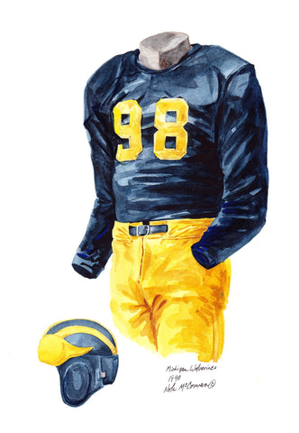 Michigan Wolverines 1940 - Heritage Sports Art - original watercolor artwork - 1