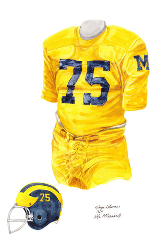 Michigan Wolverines 1964 - Heritage Sports Art - original watercolor artwork - 1