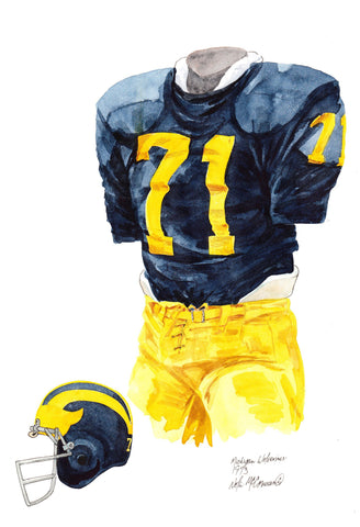 Michigan Wolverines 1973 - Heritage Sports Art - original watercolor artwork - 1