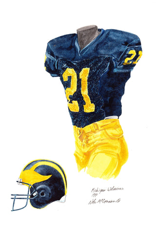 Michigan Wolverines 1991 - Heritage Sports Art - original watercolor artwork - 1