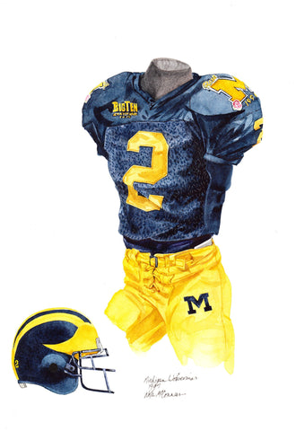 Michigan Wolverines 1997 - Heritage Sports Art - original watercolor artwork - 1
