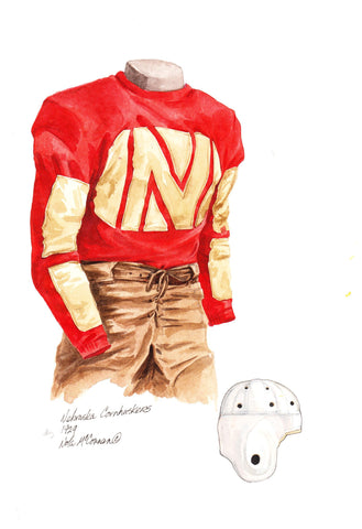 Nebraska Cornhuskers 1929 - Heritage Sports Art - original watercolor artwork - 1